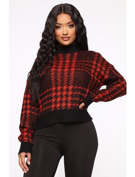 Plaid For You Sweater   Black/Red by Fashion Nova