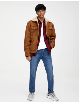 Faux Suede Trucker Jacket With Faux Shearling by Pull & Bear