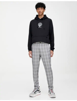 Skinny Fit Tailored Chino Trousers With Check Print by Pull & Bear