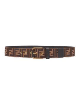 Men's Ff Logo Knit Belt W/Leather Trim by Fendi