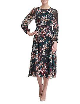 Romantic Azalea Chiffon Midi A Line Dress by Tommy Hilfiger