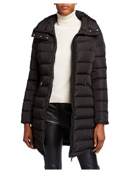 Flammette High Neck Puffer Coat, Olive by Moncler