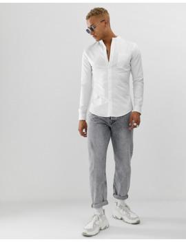 Topman – Weißes Oxford Hemd Mit Grandad Kragen by Asos