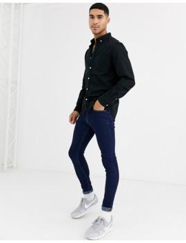 Asos Design – Schmales Stretch Jeanshemd Mit Bio Baumwolle In Schwarz by Asos