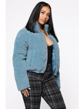 Here For The Cold Puffer Jacket   Blue by Fashion Nova