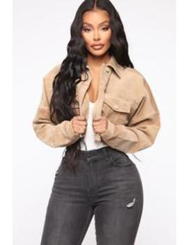 Can't Stop Me Now Corduroy Jacket   Taupe by Fashion Nova