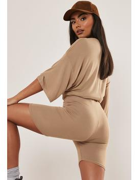 Camel Oversized T Shirt And Cycling Shorts Co Ord Set by Missguided