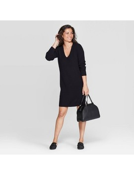Women's V Neck Long Sleeve Sweater Dress   A New Day™ by A New Day