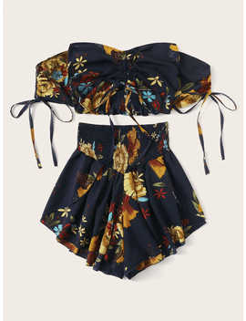 Plus Off Shoulder Floral Print Shirred Top With Shorts by Sheinside