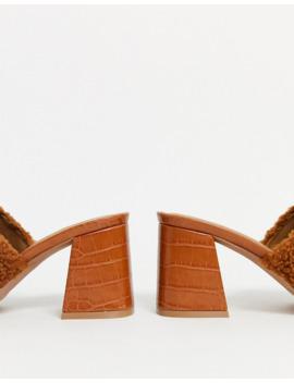 Asos Design Wide Fit Warming Platform Heeled Mules In Tan Borg by Asos Design