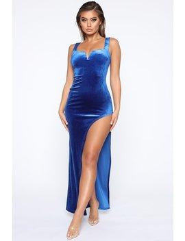 Amanda Velvet Maxi Dress   Royal by Fashion Nova