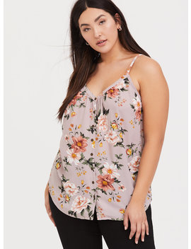 Lilac Floral Georgette Button Front Tunic Cami by Torrid