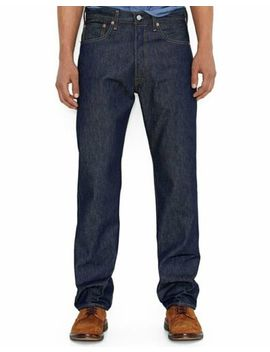 Levis Mens 501 Original Shrink To Fit Button Fly Jeans Pants Rigid Blue 0000 by Levi's