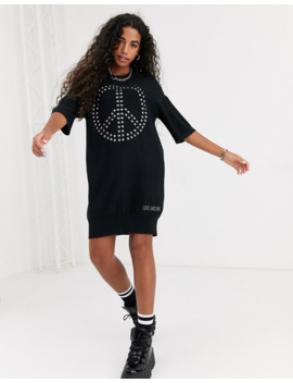 Love Moschino Peace Studded T Shirt Dress by Love Moschino
