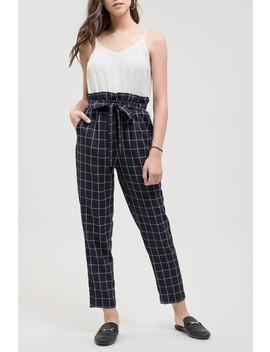 Contrast Check Tie Belt Jumpsuit by Blu Pepper