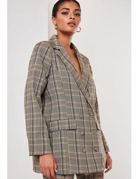 Tall Brown Co Ord Plaid Oversized Masculine Blazer by Missguided
