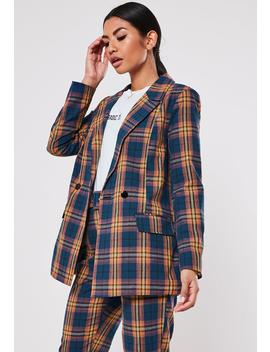 Navy Co Ord Plaid Oversized Long Blazer by Missguided