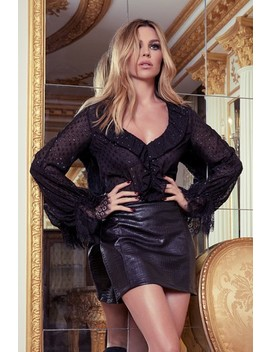 Abbey Clancy X Lipsy Lurex Dobby Frill Blouse by Next