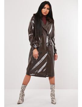 Brown Vinyl Faux Fur Double Breasted Coat by Missguided