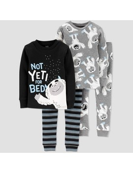 Toddler Boys' 4pc Yeti For Bed 100% Cotton Pajama Set   Just One You® Made By Carter's Black by Just One You Made By Carter's