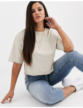 Asos Design Petite Boxy Crop T Shirt With Exposed Seams In Sand by Asos Design
