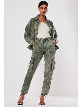 Khaki Co Ord Riot Cargo Highwaisted Mom Jeans by Missguided
