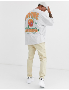 Asos Design Extreme Oversized T Shirt With Roll Sleeve And Large Orange Back Print by Asos Design