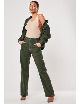 Green Co Ord Zip Through Contrast Stitch Wide Leg Denim Jeans by Missguided