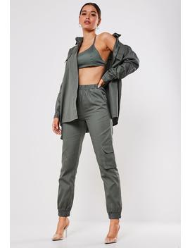 Khaki Co Ord Twill Cargo Joggers by Missguided
