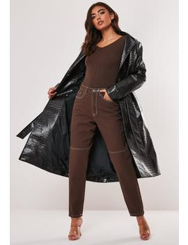 Brown Riot Contrast Stitch High Waisted Mom Jeans by Missguided