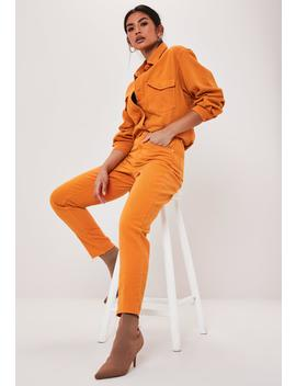 Orange Co Ord Highwaisted Raw Hem Mom Jeans by Missguided