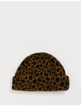 Asos Design Fisherman Beanie In Brown Leopard Print by Asos Design
