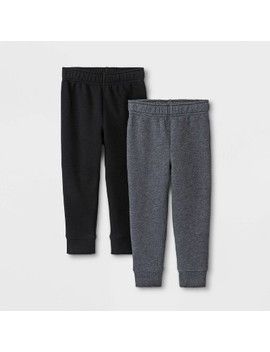 Toddler Boys' 2pk Fleece Jogger Pants   Cat & Jack™ Charcoal/Black by Cat & Jack