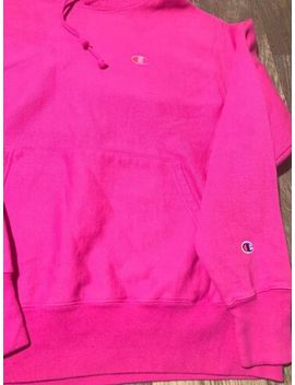Champion Reverse Weave Pigment Dye Pink Chest Logo Hoodie Sweatshirt Large L by Champion