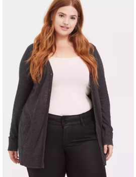 Dark Grey Slub Boyfriend Cardigan by Torrid