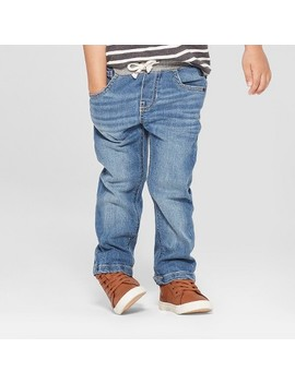 Toddler Boys' Pull On Straight Jeans   Cat & Jack™ Medium Wash by Cat & Jack