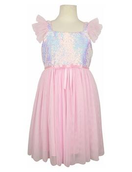 Sequin Flutter Sleeve Tulle Dress by Popatu