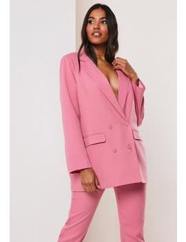 Pink Co Ord Double Breasted Oversized Masculine Blazer by Missguided