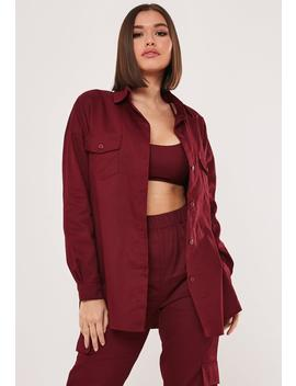 Burgundy Co Ord Twill Oversized Shirt by Missguided