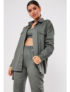 Khaki Co Ord Twill Oversized Shirt by Missguided