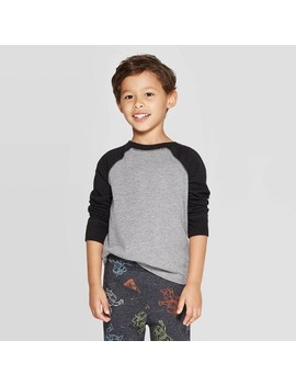 Toddler Boys' Long Sleeve Baseball T Shirt   Cat & Jack™ Black by Cat & Jack