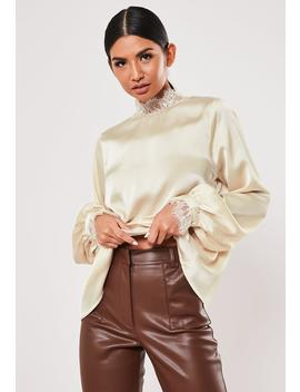 Cream Satin High Neck Long Sleeve Blouse by Missguided