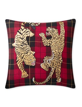 Embroidered Animal Woven Tartan Pillow Cover, Halden by Williams   Sonoma