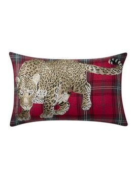 Leopard Embroidered Tartan Pillow Cover, Red by Williams   Sonoma