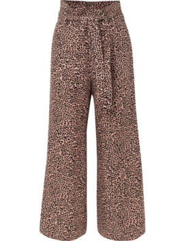 Jackie Cropped Belted Leopard Print Linen Wide Leg Pants by Reformation