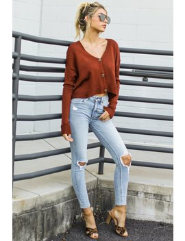 Keep It Real Brick Red Cropped Cardigan by Be Cool