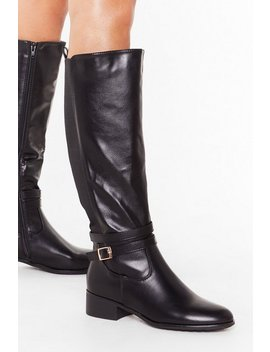 Flat Stretch Buckle Side Riding Boots by Nasty Gal