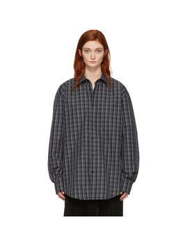 Black & White Check Logo Shirt by Balenciaga