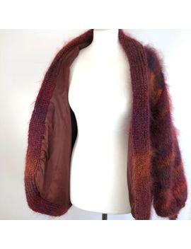 Oversized Mohair Lined Cardigan Coatigan Jacket M/L Vtg Boho Orange Red Multi by Unbranded