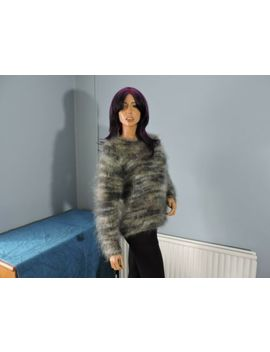 Lovely Used Vintage Hand Knitted Mohair Jumper Size 14 by Nicky Sheldon